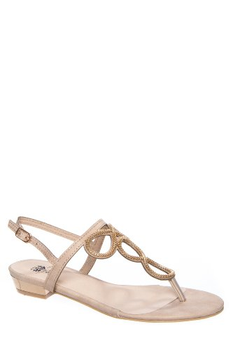 Good Choice Infinity Low Heel Ankle Strap Thong Sandal