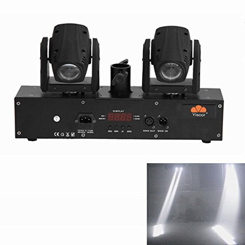 Yiscortm Stage Lighting Led Beam Light White Color 2 Moving Heads Dmx512 Beam For Disco Dj Club Home Garden Wedding Party Wedding Effect (Pack Of 1)