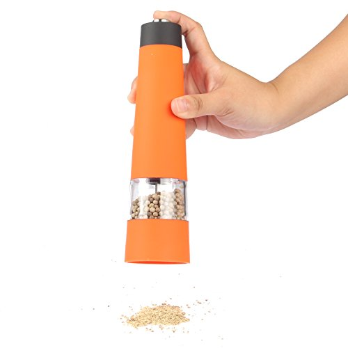Lagute Multi-Function Automatic Electric Salt And Pepper Mill, Battery-Powered, High Quality Grinding Mechanism, One-Touch Operation, Adjust From Fine To Coarse, Suitable For Restaurant Hotel Kitchen And Home (1, Orange)