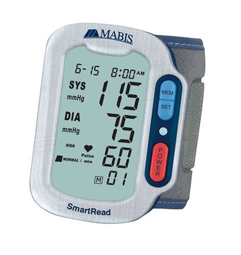 Cheap MABIS SmartRead Plus Automatic Wrist Digital Blood Pressure Monitor with WHO and Jumbo Display, Grey (04-251-001)