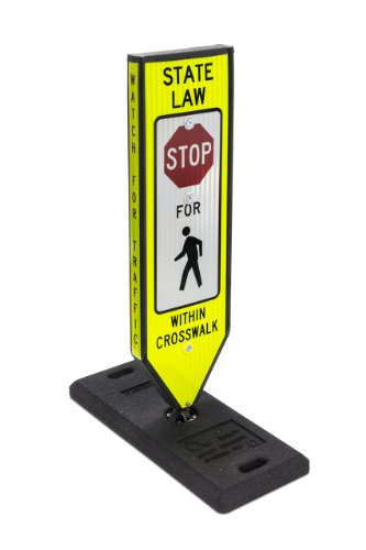 "Omni-Ped, Stop, 4-Sided In-Road Crosswalk Sign, Includes Plastic 8""X8"" Fixed Base & Qr Pin"