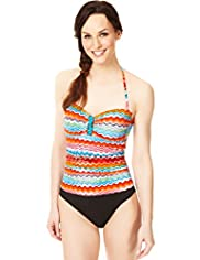 Tummy Control Zigzag Sunset Print Bandeau Swimsuit
