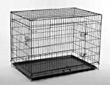 """42"""" Pet Folding Dog Cat Crate Cage Kennel w/ABS Tray LC"""