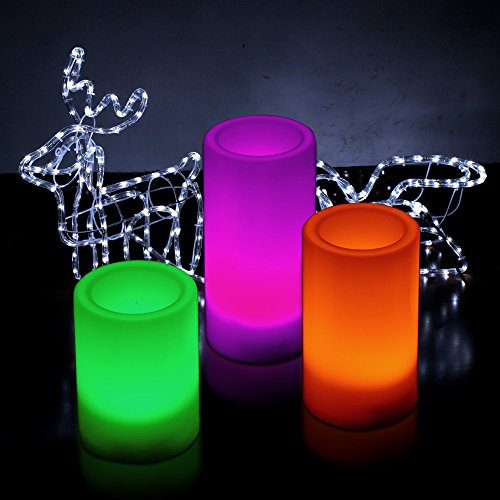 "Kohree Set Of 3 (4"" 5"" 6"") Led Flameless Candles Multiple Colors Pillar Candle With Remote Timer, Color Changing Battery Operated Candles"
