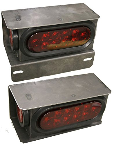 2 New Trailer Truck Steel Housing Box With License Plate Bracket Kit W/Led Lights