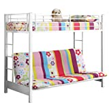 Metal Twin over Futon/Full Bunk Bed, White